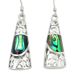 5.12cts green abalone paua seashell 925 silver dangle earrings c11758