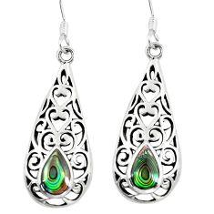 4.02gms green abalone paua seashell 925 silver dangle earrings c26073