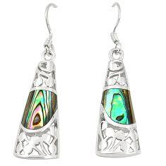 Green abalone paua seashell 925 silver dangle earrings jewelry c11746