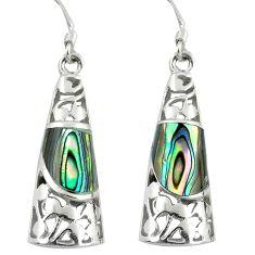 4.93cts green abalone paua seashell 925 silver dangle earrings jewelry c11752