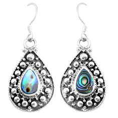 7.02gms green abalone paua seashell 925 silver dangle earrings jewelry c11820