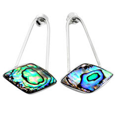 Green abalone paua seashell 925 silver dangle earrings jewelry c23061