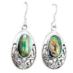 Green abalone paua seashell 925 silver dangle earrings jewelry c26071