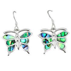 Green abalone paua seashell 925 sterling silver butterfly earrings a55571 c14223