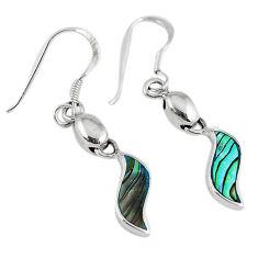 Green abalone paua seashell enamel 925 silver dangle earrings jewelry c23018