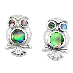 3.89gms green abalone paua seashell enamel 925 silver owl earrings a91937 c14353