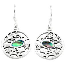 3.87gms green abalone paua seashell enamel silver birds earrings a91921 c14202