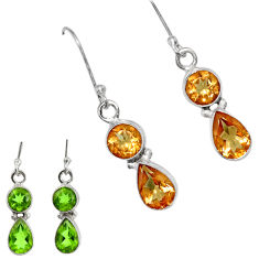 Clearance Sale- 6.13cts green alexandrite (lab) 925 sterling silver dangle earrings d40218