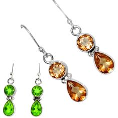 Clearance Sale- 5.84cts green alexandrite (lab) 925 sterling silver dangle earrings d40223