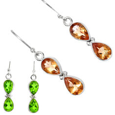 Clearance Sale- 6.77cts green alexandrite (lab) 925 sterling silver dangle earrings d40228