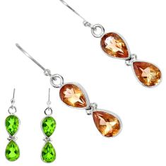 Clearance Sale- 6.83cts green alexandrite (lab) 925 sterling silver dangle earrings d40229