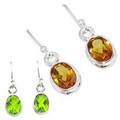 3.76cts green alexandrite (lab) 925 sterling silver dangle earrings t57021