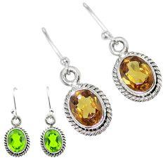 4.56cts green alexandrite (lab) 925 sterling silver dangle earrings t57044