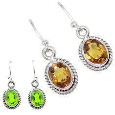 4.56cts green alexandrite (lab) 925 sterling silver dangle earrings t57047
