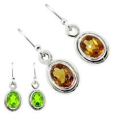 4.05cts green alexandrite (lab) 925 sterling silver dangle earrings t57059
