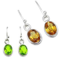 3.64cts green alexandrite (lab) 925 sterling silver earrings jewelry t57068