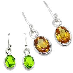 4.24cts green alexandrite (lab) 925 sterling silver earrings jewelry t57070