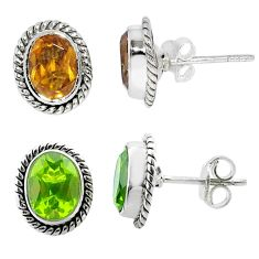 3.62cts green alexandrite (lab) 925 sterling silver stud earrings jewelry t57022