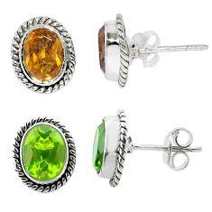 3.95cts green alexandrite (lab) 925 sterling silver stud earrings jewelry t57025