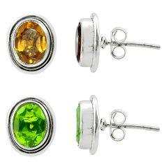 4.24cts green alexandrite (lab) 925 sterling silver stud earrings jewelry t57028