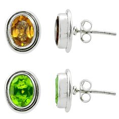 4.21cts green alexandrite (lab) 925 sterling silver stud earrings jewelry t57030