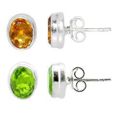3.77cts green alexandrite (lab) 925 sterling silver stud earrings jewelry t57033