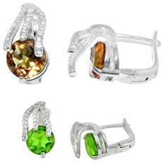 Green alexandrite (lab) topaz 925 silver dangle earrings jewelry c21819