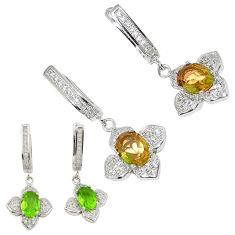 Green alexandrite (lab) topaz 925 sterling silver dangle earrings c20715