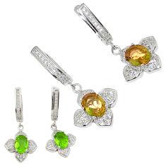 Green alexandrite (lab) topaz 925 sterling silver dangle earrings c20717