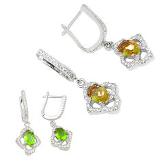 Green alexandrite (lab) topaz 925 sterling silver dangle earrings c20719