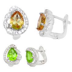 Green alexandrite (lab) topaz 925 sterling silver earrings c25991