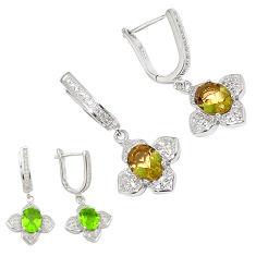 Green alexandrite (lab) topaz 925 sterling silver earrings c25994