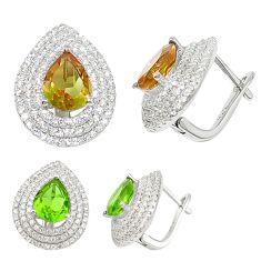 Green alexandrite (lab) topaz 925 sterling silver earrings jewelry c25992
