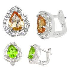 Green alexandrite (lab) topaz 925 sterling silver stud earrings c20664