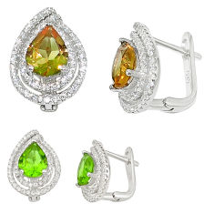 Green alexandrite (lab) topaz 925 sterling silver stud earrings c20675