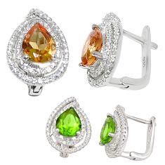Green alexandrite (lab) topaz 925 sterling silver stud earrings c20706