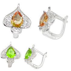Green alexandrite (lab) topaz 925 sterling silver stud earrings c20708