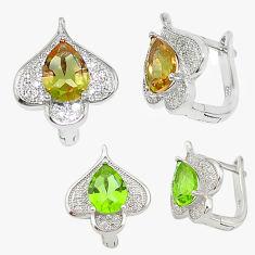 Green alexandrite (lab) topaz 925 sterling silver stud earrings c20711