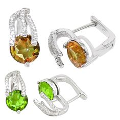 Green alexandrite (lab) topaz 925 sterling silver stud earrings c20714