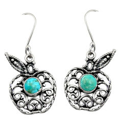 Clearance Sale- 2.23cts green arizona mohave turquoise 925 silver apple charm earrings d41218