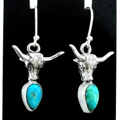 3.16cts green arizona mohave turquoise 925 silver bull face earrings t37346