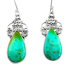13.09cts green arizona mohave turquoise 925 silver dangle earrings d45741