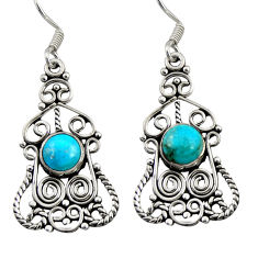 Clearance Sale- 6.03cts green arizona mohave turquoise 925 silver dangle earrings jewelry d41215