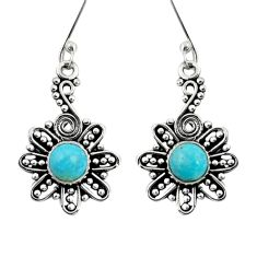 2.21cts green arizona mohave turquoise 925 silver dangle earrings jewelry d41217