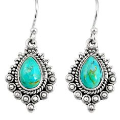 4.42cts green arizona mohave turquoise 925 silver dangle earrings jewelry r55265