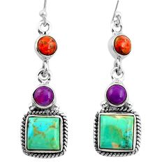 12.89cts green arizona mohave turquoise 925 silver dangle earrings r26905