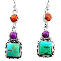 12.36cts green arizona mohave turquoise 925 silver dangle earrings r26906