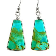 11.28cts green arizona mohave turquoise 925 silver dangle earrings r29282