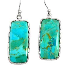 15.37cts green arizona mohave turquoise 925 silver dangle earrings r29285
