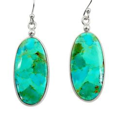 13.69cts green arizona mohave turquoise 925 silver dangle earrings r29288